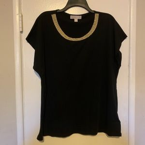 Michael Kors Gold Collar Tee Size 2X
